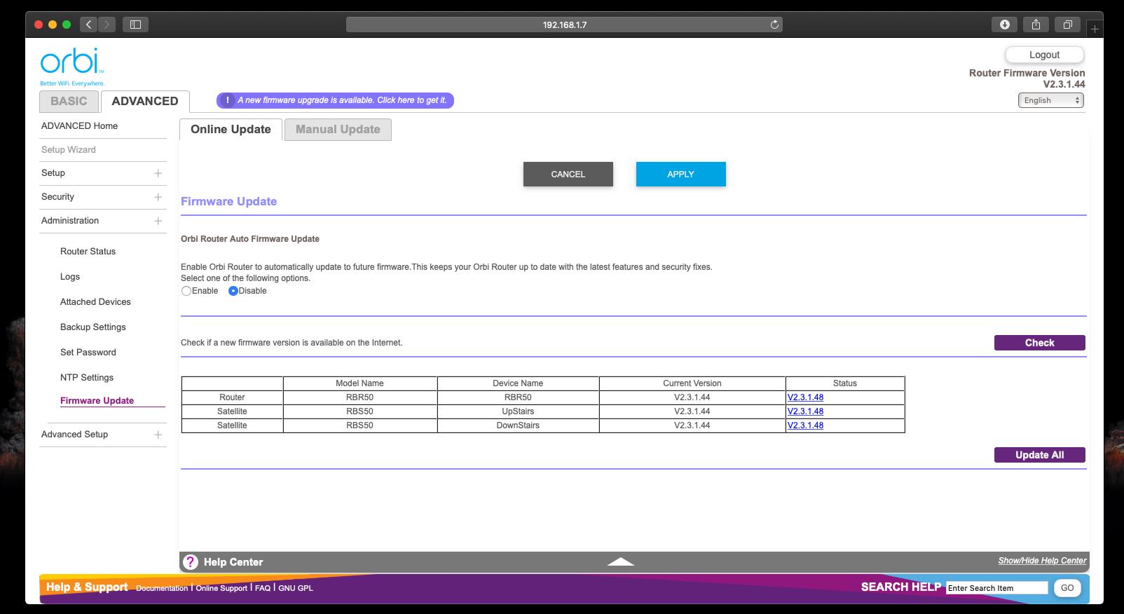Re: New Orbi RBR50/RBS50 Firmware Version 2 3 1 48 - NETGEAR Communities