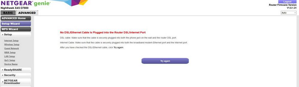 D7800 will not detect Dsl cable - NETGEAR Communities