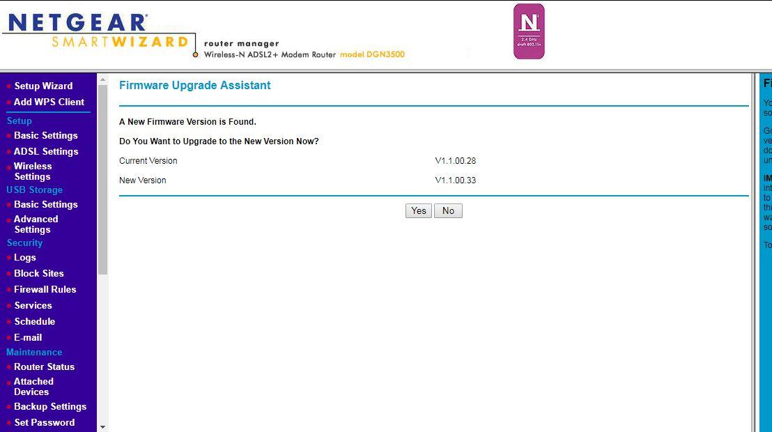 Cannot update firmware DGN3500- Upgrade file is no    - NETGEAR