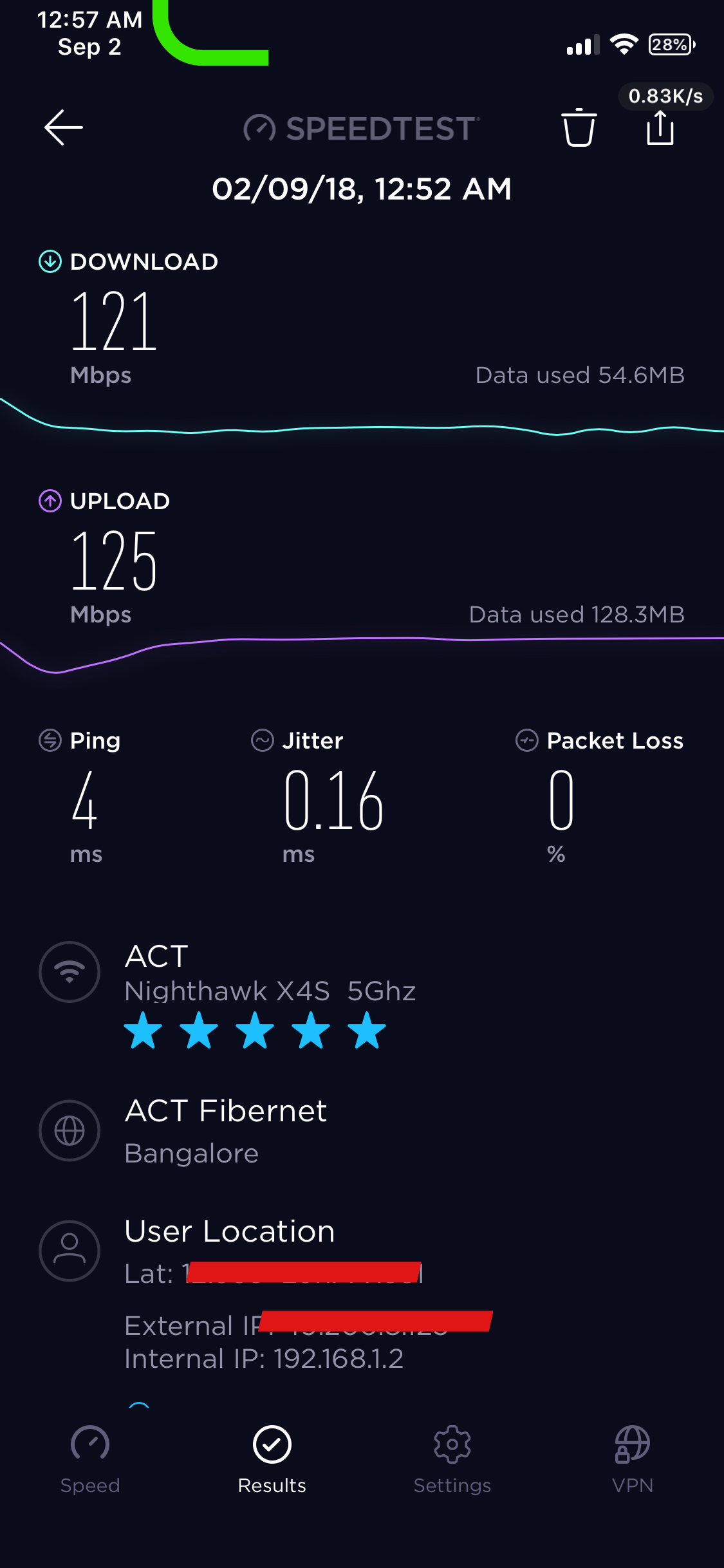 Wifi speed on 5Ghz always maxes out to 121Mbps  My    - NETGEAR