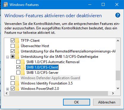SMB 1.0 CIFS Client - Windows Feature.PNG