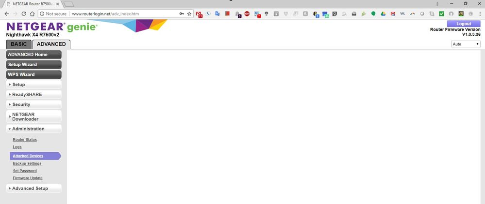 blank page after trying to see attached devices