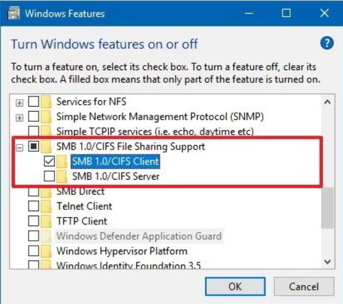 Windows Features - SMB 1.0 CIFS Client.PNG