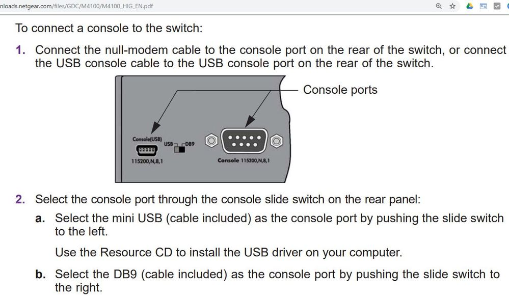 M4100 USB and DB9 serial console.JPG