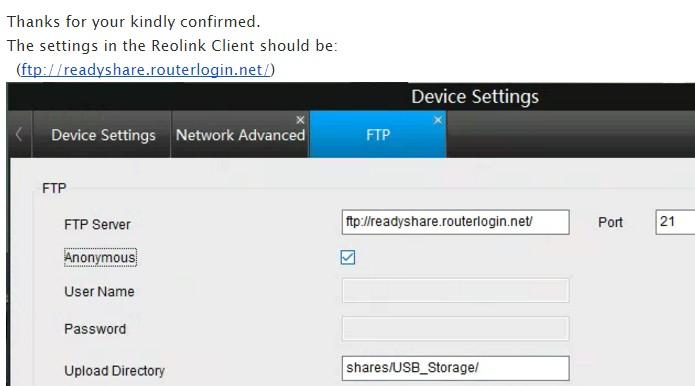 Reolink ftp to R7000 USB - NETGEAR Communities