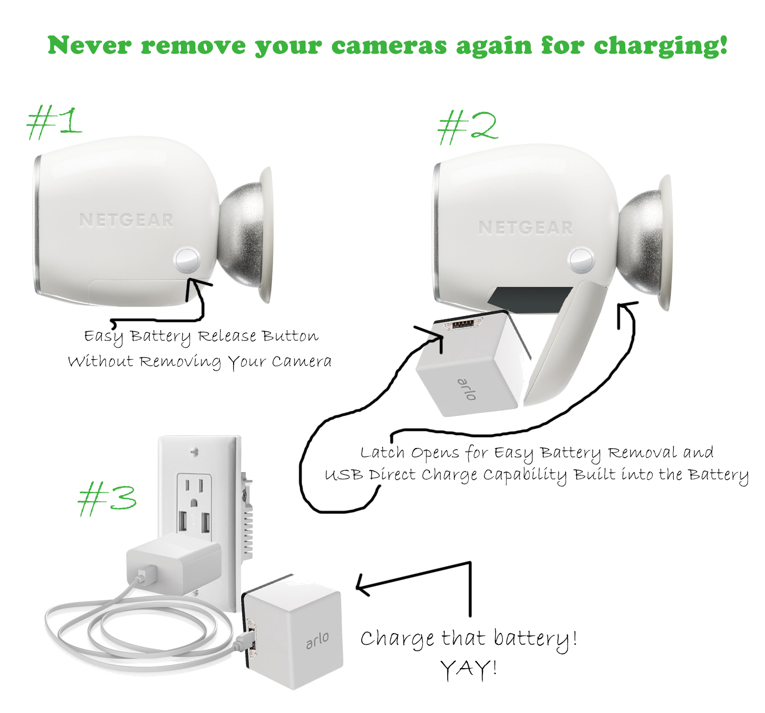 Arlo Easy Release With Direct Usb Battery Charge Netgear