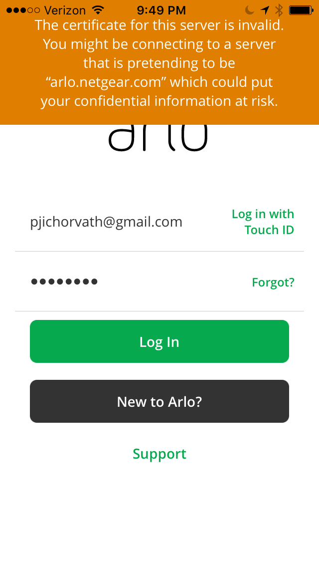 Certificate Error With Arlo App Netgear Communities