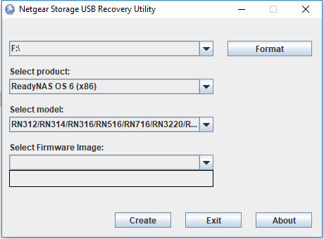 issue creating ReadyNAS 314 USB recovery tools (fi