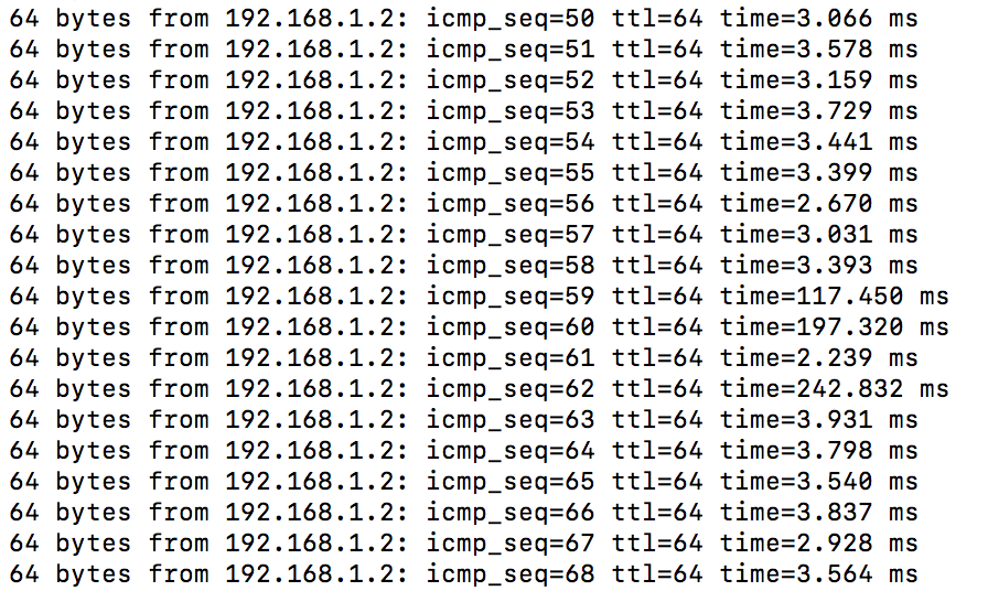 Ping latency spikes on Mac OS with Orbi -- what co