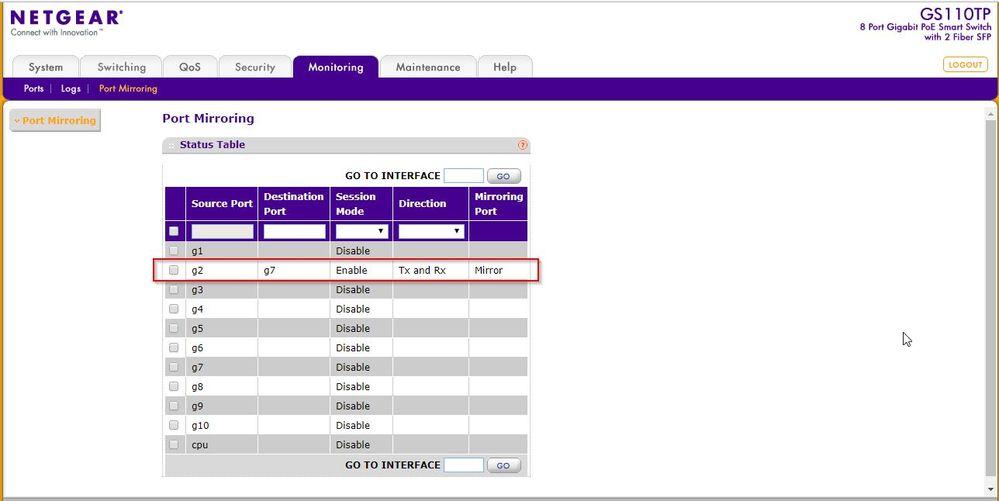 Solved: GS110TP port mirroring not working - NETGEAR Communities