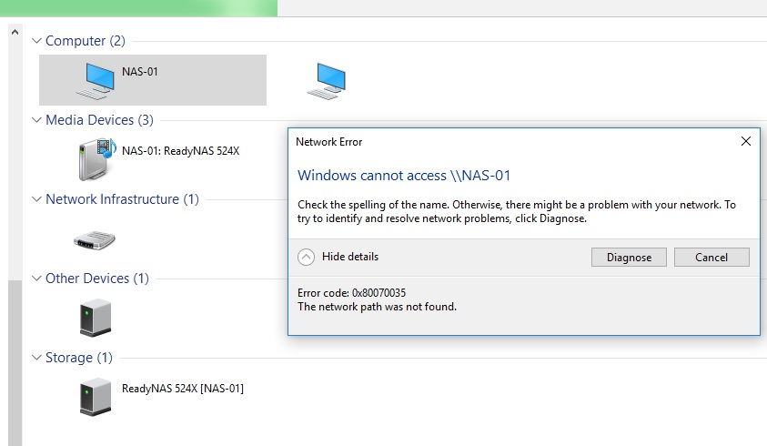 Solved: Windows 10 Install: no longer able to access NAS s