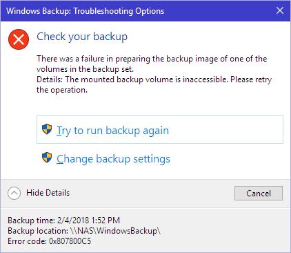 Windows Backup error: