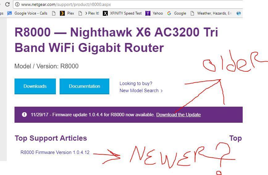 Nighthawk R8000 x6 firmware update from V1 0 3 54