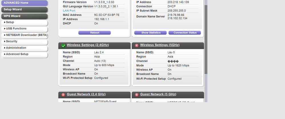 Wireless Settings (5Ghz) - NETGEAR Communities
