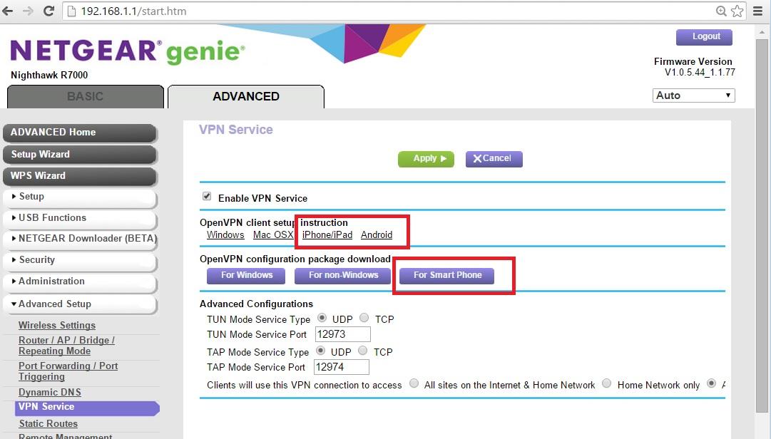 Solved: R7000 VPN Service TAP or TUN - NETGEAR Communities