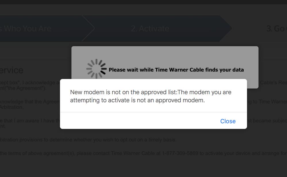 Solved: CBR40 Modem/Router = No Spectrum Compatibility