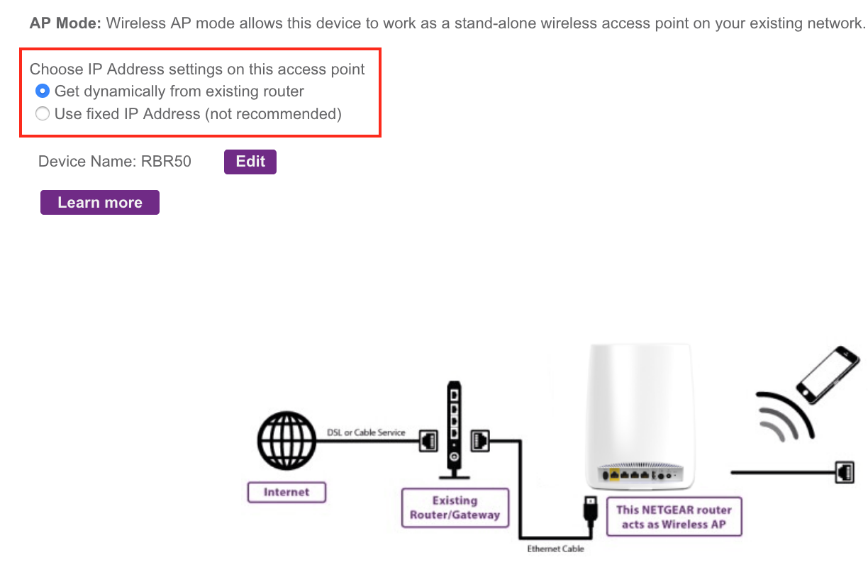DHCP issue with ORBI RBK50 configured in AP mode - NETGEAR