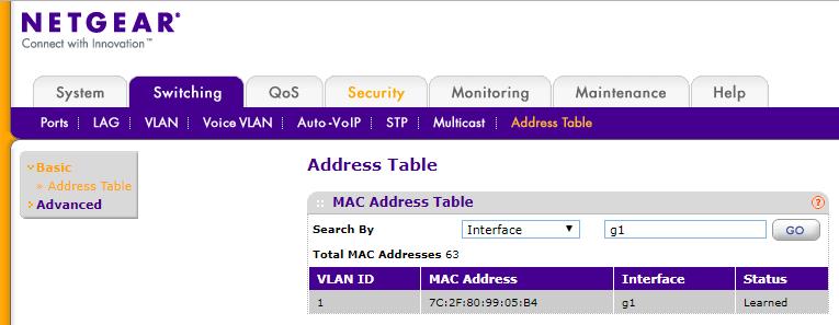 Netgear smart switches - how view MAC address of d