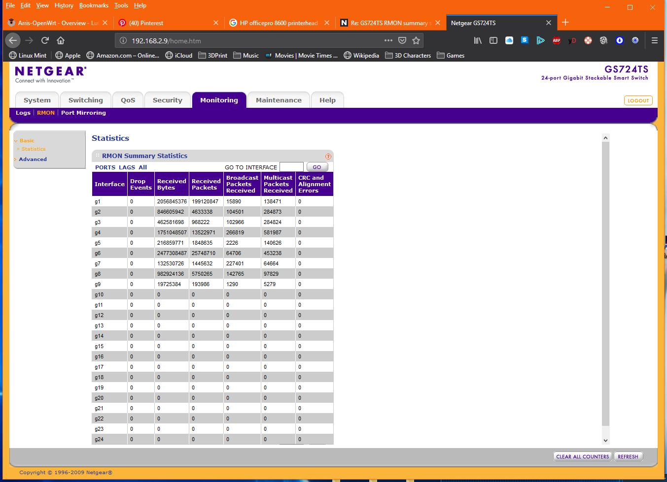 f1372fe039 GS724TS RMON summary statistics confusion - NETGEAR Communities