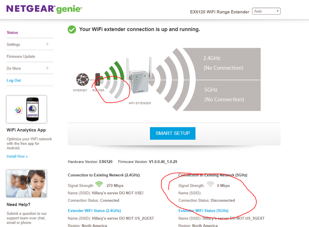 EX6120 RANGE EXTENDER NOT CONNECTING TO router ON