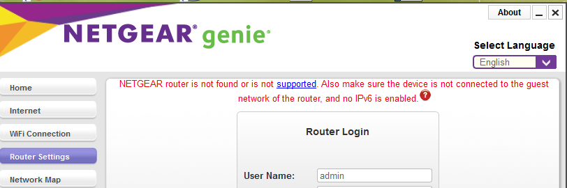 NETGEAR router is not found or is not supported  - NETGEAR